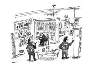 Punks with 'Hell's Bibliophiles' jackets in a book store. - New Yorker Cartoon by Michael Maslin