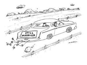 Sign on back of car. - New Yorker Cartoon by Michael Maslin