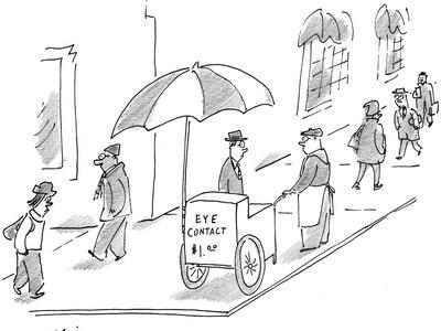 Street vendor with cart that reads, 'Eye Contact $1.00.' - New Yorker Cartoon