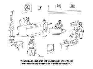 """Your Honor, I ask that the transcript of this witness' entire testimony b…"" - Cartoon by Michael Maslin"
