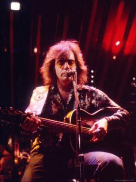 Singer Neil Diamond Playing Guitar by Michael Mauney