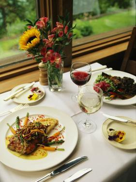 An Attractively Prepared Meal is Served at the Emerald Lake Lodge by Michael Melford
