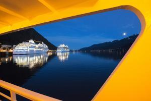 Cruise Ships Docks in Juneau at Night by Michael Melford