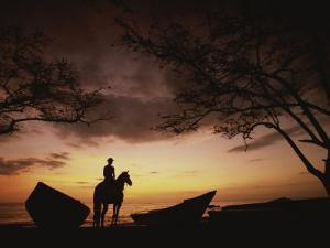 Horseback Rider Silhouetted on a Beach at Twilight, Costa Rica by Michael Melford