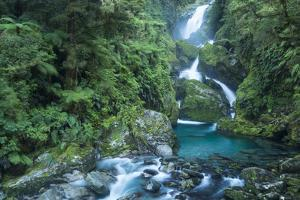 Mackay Falls on Milford Track in Fiordland National Park by Michael Melford
