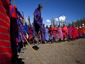 Masai Warriors Jumping by Michael Melford