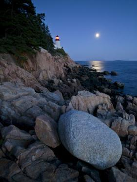 Moonlight Reflected in the Ocean Near the Bass Harbor Light House by Michael Melford