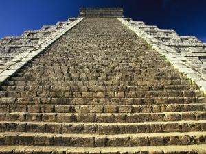 One of the Four Stairways of El Castillo Pyramid at Chichen Itza by Michael Melford