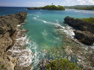 View of Blue-Green Water at Folly Point Lighthouse, Jamaica by Michael Melford