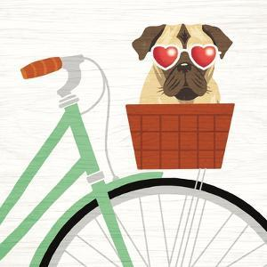 Beach Bums Pug Bicycle I by Michael Mullan
