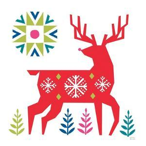 Geometric Holiday Reindeer I Bright by Michael Mullan