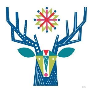 Geometric Holiday Reindeer II Bright by Michael Mullan