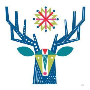 Geometric Holiday Reindeer II Bright by Michael Mullan