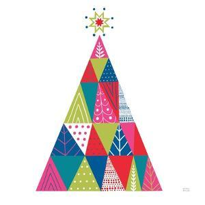 Geometric Holiday Trees I Bright by Michael Mullan