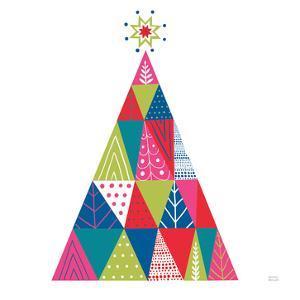 Geometric Holiday Trees I Bright by Michael Mullan