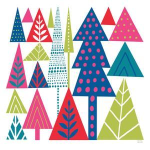 Geometric Holiday Trees II Bright by Michael Mullan