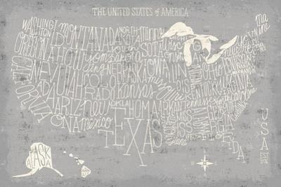 Hand Lettered USA Map Gray by Michael Mullan