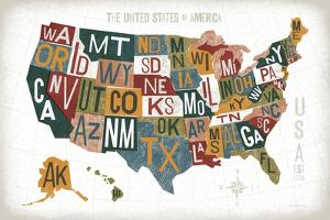 Letterpress USA Map Warm by Michael Mullan