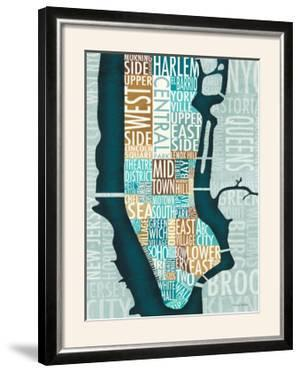 Manhattan Map Blue Brown by Michael Mullan