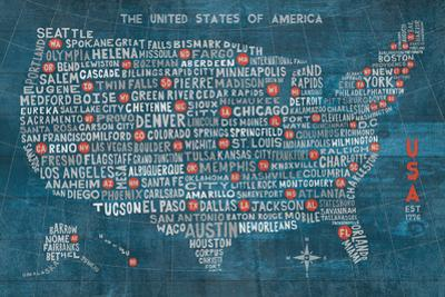 US City Map on Wood Blue by Michael Mullan