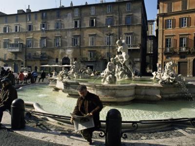 Fountain in the Piazza Navona, Rome, Lazio, Italy