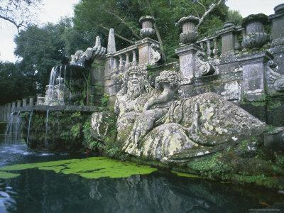 Fountains in the Gardens of the Villa Lante, Bagnaia, Lazio, Italy, Europe
