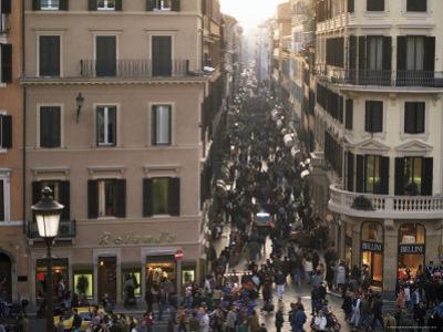 Via Condotti from the Spanish Steps, Rome, Lazio, Italy