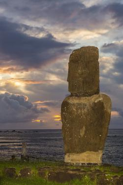A Single Moai at Fisherman's Harbor in the Town of Hanga Roa by Michael Nolan