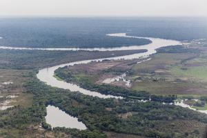 Aerial view of the Amazon River flying into Iquitos, Loreto, Peru, South America by Michael Nolan