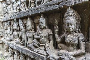 Apsara Carvings in the Leper King Terrace in Angkor Thom, Angkor, Cambodia by Michael Nolan