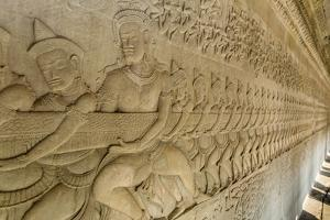 Bas-Relief Carvings from the Churning of the Sea of Milk Myth by Michael Nolan