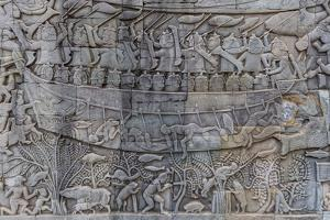 Bas-Relief Carvings in Prasat Bayon, Angkor Thom, Angkor, Siem Reap, Cambodia by Michael Nolan