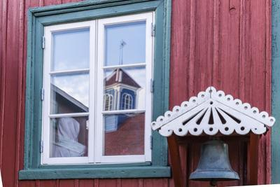 Brightly Painted House Reflected in Window in Sisimiut, Greenland, Polar Regions