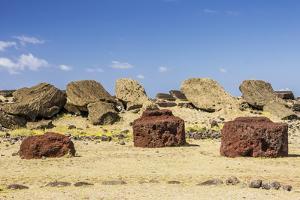 Fallen Moai and Red Scoria Topknots at Ura Uranga Te Mahina Ceremonial Site by Michael Nolan