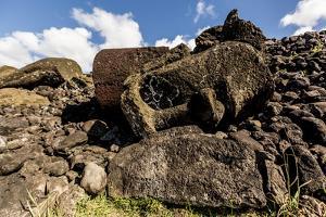 Fallen Moai Head and Red Scoria Topknot at Ahu Akahanga by Michael Nolan
