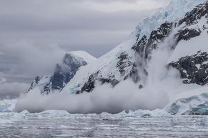 Falling Avalanche of Snow and Ice in Neko Harbor, Antarctica, Polar Regions by Michael Nolan