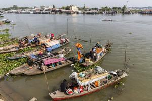 Families in their River Boats at the Local Market in Chau Doc, Mekong River Delta, Vietnam by Michael Nolan