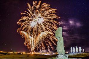 Fireworks Ring in the New Year from the Town of Hanga Roa over Moai by Michael Nolan