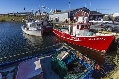 Fishing Vessels Inside the Harbor at Bonavista, Newfoundland, Canada, North America