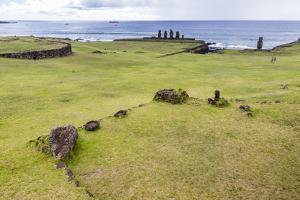 House Foundation and Six Moai in the Tahai Archaeological Zone by Michael Nolan