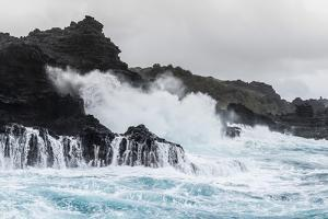 Huge Surf at the Olivine Pools on the Northwest Coast of West Maui by Michael Nolan