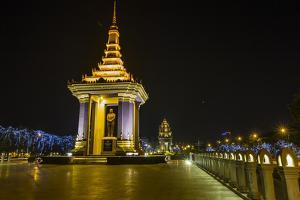 Night Photograph of the Statue of Norodom Sihanouk, Phnom Penh, Cambodia, Indochina by Michael Nolan