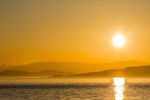 Pacific Northwest Sunset, Haro Strait, Saturna Island, British Columbia, Canada, North America by Michael Nolan