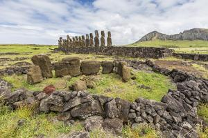 Partial Moai Heads in a Circle at the 15 Moai Restored Ceremonial Site of Ahu Tongariki by Michael Nolan
