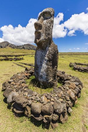 Single Moai Statue Guards the Entrance at the 15 Moai Restored Ceremonial Site of Ahu Tongariki