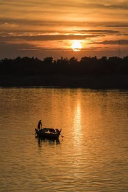 Sunrise on the Tonle Sap River Near the Village of Kampong Tralach, Cambodia, Indochina by Michael Nolan