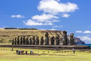 Tourists at the 15 Moai Restored Ceremonial Site of Ahu Tongariki by Michael Nolan