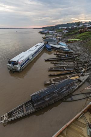 Various boats along the banks of the Amazon River, Loreto, Peru, South America by Michael Nolan