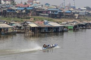 View of Life Along the Tonle Sap River Headed Towards Phnom Penh, Cambodia, Indochina by Michael Nolan