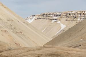 View of Sedimentary Layers from Cape Hay, Bylot Island, Nunavut, Canada, North America by Michael Nolan